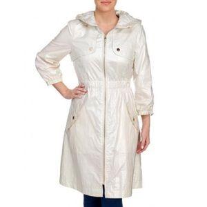 Eliza J Women Coated Zip Front Hooded Rain Coat